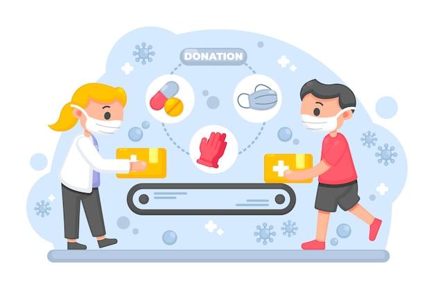 Гуманитарная помощь, иллюстрированный дизайн