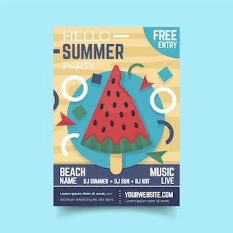 Плоский дизайн арбуза мороженое постер