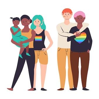 Плоский дизайн иллюстрации пары и семьи празднуют день гордости