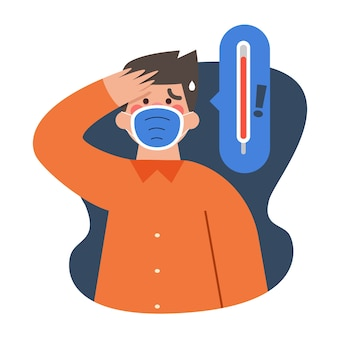 発熱を持つ医療用マスクを着た男