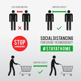 社会的距離インフォグラフィックテンプレート