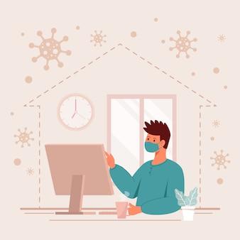 Человек работая от концепции комендантского часа дома