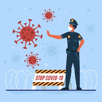 Полицейский борется с вирусом на передовой