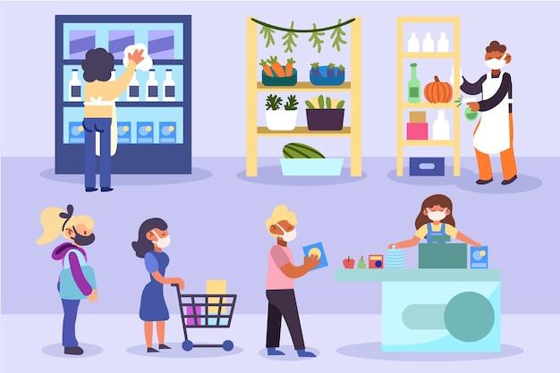 商品を購入しながら距離を保つ人々