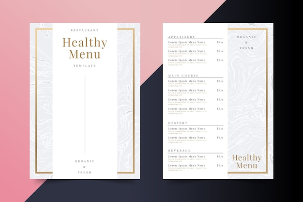 大理石の健康食品レストランメニューテンプレート