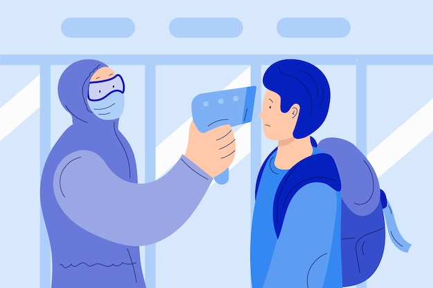 Человек, проверка температуры тела