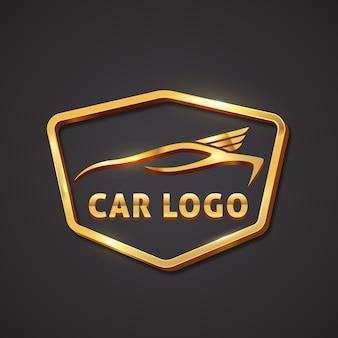 Реалистичный металлический логотип автомобиля