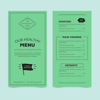 Шаблон для оформления меню ресторана