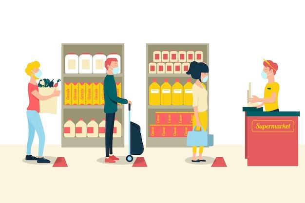 コロナウイルススーパーマーケットのイラスト入りの人々