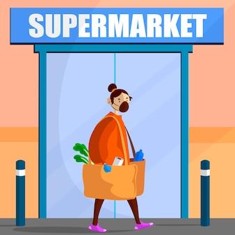 コロナウイルススーパーマーケットイラストテーマ