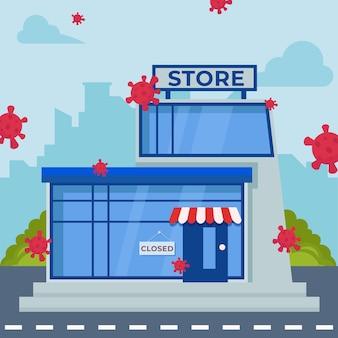Магазины закрыты пандемии концепции