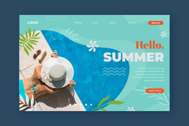 Привет летняя посадочная страница с фото