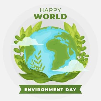Всемирный день окружающей среды зеленый плоский дизайн