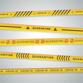 Реалистичные карантинные полосы черного и желтого цветов