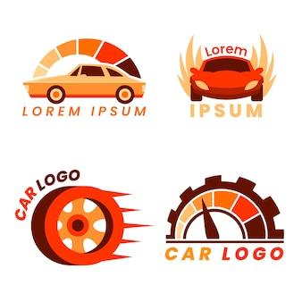 フラットなデザインの車のロゴコレクションテンプレート