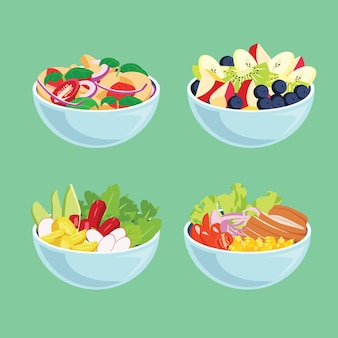 Вкусные свежие фрукты и салаты в мисках
