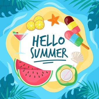 フラットデザインこんにちは夏とアイスクリーム