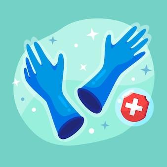 保護のための青い医療用手袋
