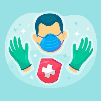 保護用の衛生手袋とマスク器具