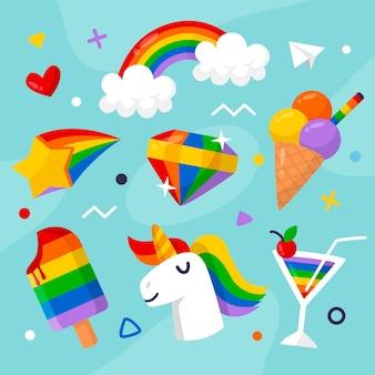 フラットなデザインの虹とアイスクリーム