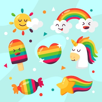 フラットなデザインの虹とユニコーン