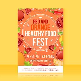 Концепция шаблона плаката здоровой пищи