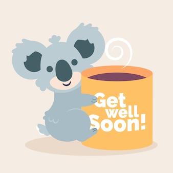 Выздоравливай смайлик коала и кофе