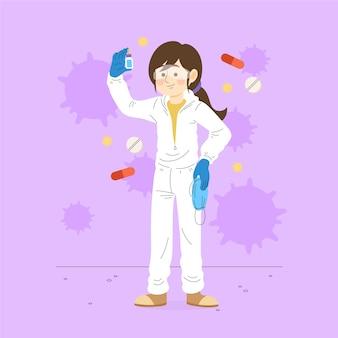 Концепция лечения вируса с женщиной-ученым