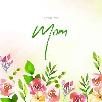 花柄母の日レタリング