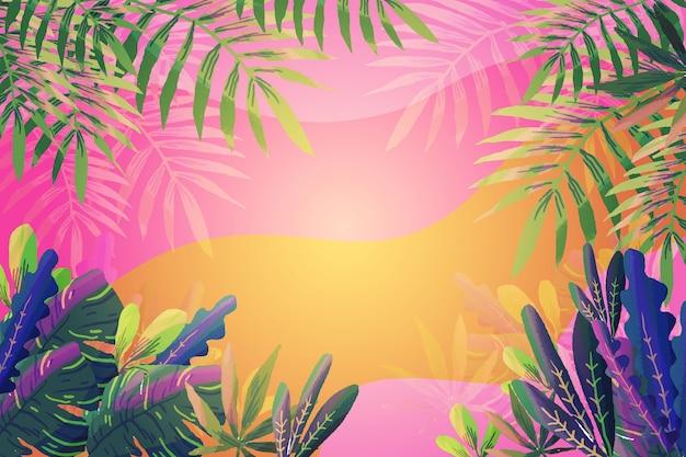 グラデーションの背景と熱帯の葉