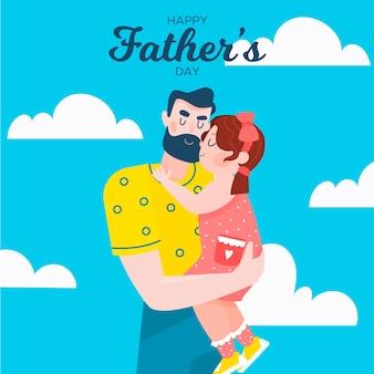 День отца концепция в плоском дизайне