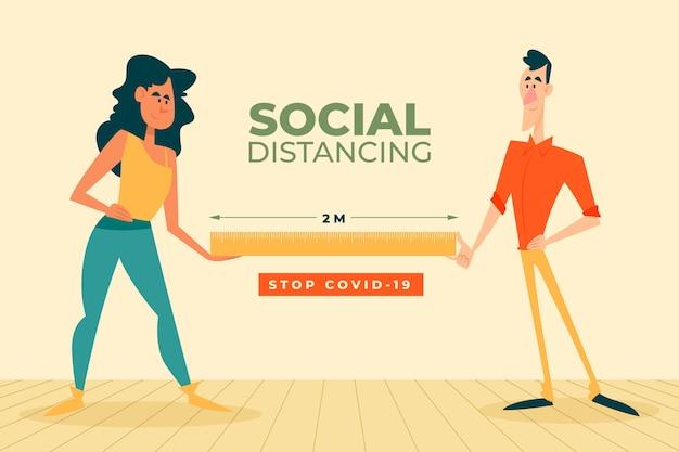 Социальный дистанцированный иллюстрированный стиль
