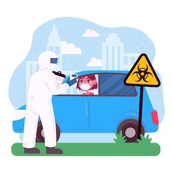 Проверка температуры кузова на обочине дороги