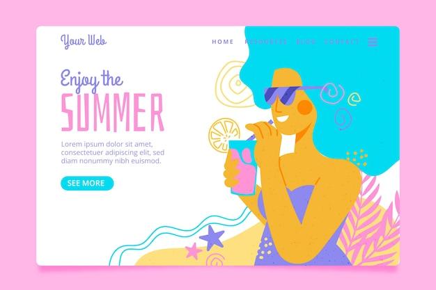 こんにちは青い髪の夏のランディングページの女性