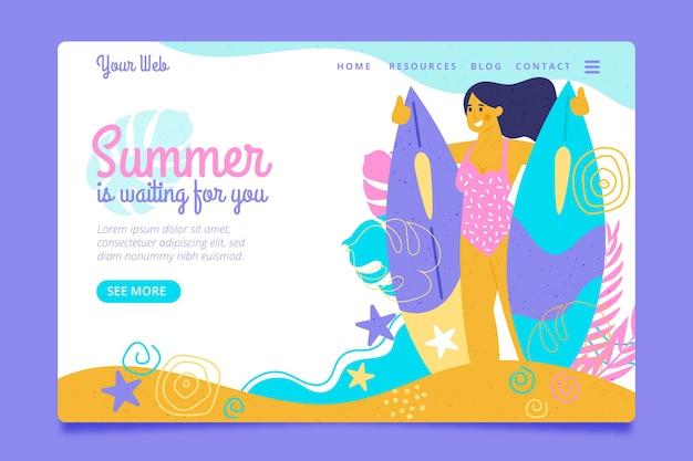こんにちは夏のランディングページの女性とサーフボード