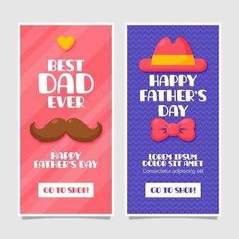 День отца баннеры в плоском дизайне