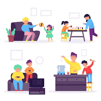 家で一緒に時間を楽しむ人々のセット