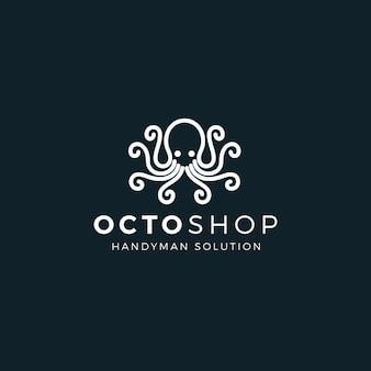 Стиль шаблона логотипа осьминог