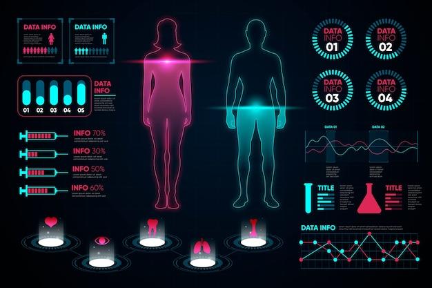 医療インフォグラフィックの女性と男性のグラフ