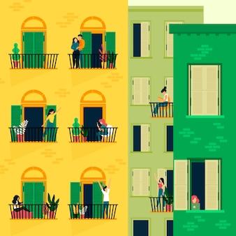 Люди, занимающиеся досугом на балконах