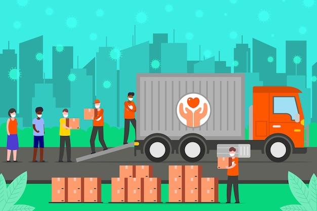 寄付された箱を運ぶ人々