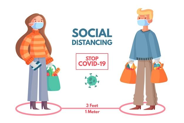 Социальный дистанционный инфографический дизайн шаблона