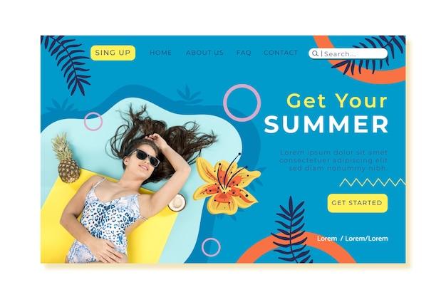 こんにちは写真付き夏のランディングページテンプレート
