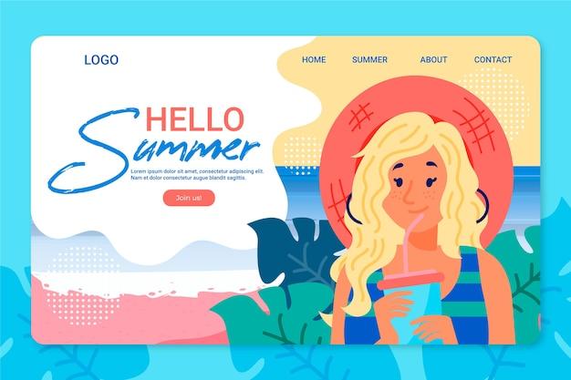 こんにちは夏のフラットデザインのランディングページ