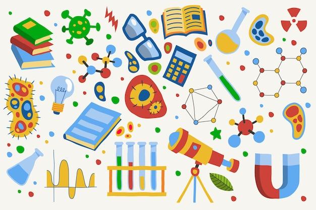 手描きの科学教育の背景テーマ
