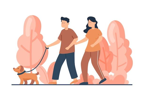 Пара вместе просыпается с собакой