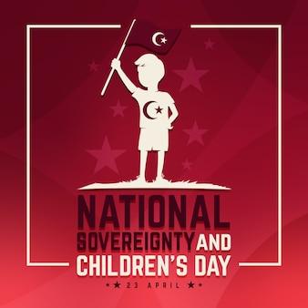 Национальный суверенитет и детский день и флаг