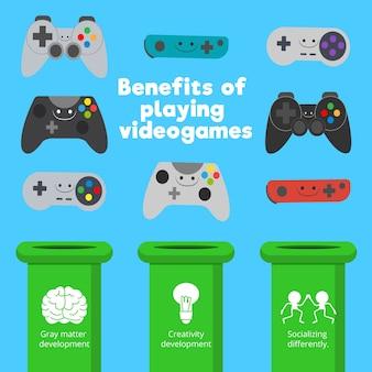 さまざまな種類のゲームコントローラとゲームスキル