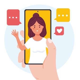 Концепция видео-звонков друзей