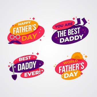 Плоский дизайн отцов день значки